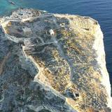 Aerial photo of the castle at Gramvoussa peninsula