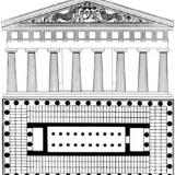 Kerkyra, front view and ground plan of Artemis temple (590-580 B.C.)