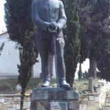 Kymi, statue of Velissarios at Prophet Elias