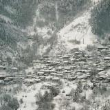 Amarados, the village covered with snow