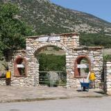 Petroussa, the entrance of the country church of Agia Triada at the gorge