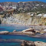 Fyriplaka beach is formed in a cape in the south of the island