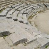 The ancient theatre - the last arrangement by the Romans (3rd A.D. c.) transforms the orchestra to a circular arena for fights with wild beasts & duels