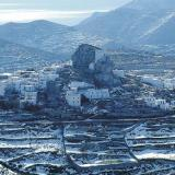 Amorgos - the capital of the island in snow