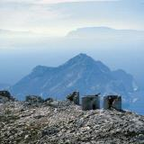 Amorgos - a panoramic view of the Aegean Sea from the high mountains of the isle