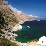 Amorgos; a church in a steepy landscape of the island