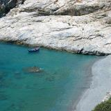 Amorgos beaches; a sandy beach in a rocky coastline
