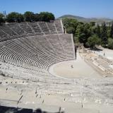 Theatre of Epidaurus: View of the scene (stage), the orchestra (acting area) and the koilon (tiered seats)