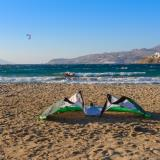 Kite surfing at Korfos beach