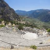 The theatre of Delphi, built in 400 BC of white stone from Parnassus. Its capacity is estimated to 5000 spectators and it bears all the typical architectural features of the Late Classical Greek theatres.