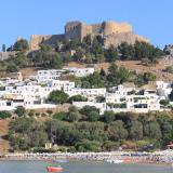 Lindos, the modern town & the ancient Acropolis of Lindos