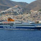 Car passenger ferry Blue Star Patmos in Syros port